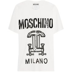 MoschinoPrinted Cotton-jersey T-shirt ($63) ❤ liked on Polyvore featuring tops, t-shirts, white, moschino, white t shirt, moschino tee, moschino top and oversized tees