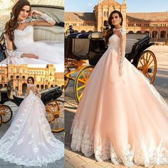 Sheer Back Royal Train Blush Pink Wedding Dresses 2017 Crystal Design Bridal Long Sleeves Illusion Boat Sweetheart Neckline Ball Gown Overskirt Evening Dress Mermaid Wedding Dress Country Wedding Dress Online with $188.58/Piece on Alegant_lady's Store   DHgate.com