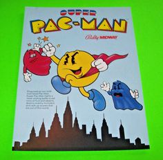 Midway SUPER PAC MAN 1982 Original NOS Video Arcade Game Sales Flyer PACMAN…