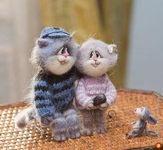 Влюбленные котики и мышка..) - войлочные изделия, игрушки зверята хэнд мейд. МегаГрад - авторская ручная работа