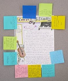 "Such a fantastic idea!  The students create a ""blog"" on paper.  Then they pass the blogs around and leave thoughtful comments on sticky notes."