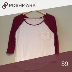 Red and White Baseball Tee❤️ Slightly wrinkly , but no other flaws.says medium, but fits more Small. Outfit Inspiration: with high waisted shorts, or leggings! Help my fiancé and I save up for our wedding! All purchases are shipped carefully and thoughtfully  Smoke- free home ❗️Bundle to save on SHIPPING & TOTAL  Serious and reasonable offers only (no more  than 10% of listing price!)  ✅Suggested User, shop with confidence NO TRADES ️Sharing is caring Forever 21 Tops Tees - Short Sleeve