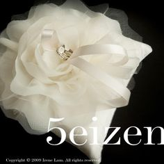 Bloomi Series V  Ivory Bloom Wedding Ring Pillow by 5eizen on Etsy, $50.00