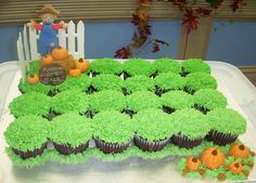 Pumpkin Patch Cupcakes - The cupcakes are buttercream icing using the grass tip. Everything else is made from fondant except the fence it is made from color flow. Pumpkin Patch Birthday, Pumpkin Patch Party, 5th Birthday, Birthday Ideas, Birthday Parties, Halloween Ideas, Halloween Party, Costco Cake, Thanksgiving Treats