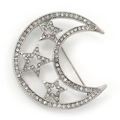 Clear Swarovski Crystal Moon  Stars Brooch In Silver Plating  45cm Length *** Learn more by visiting the image link.