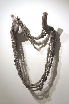 Julie Gough artist. 'Life Bearer' pumice stone, driftwood Pumice Stone, Artist Life, Driftwood, Pearl Necklace, Pearls, Nature, Jewelry, String Of Pearls, Naturaleza