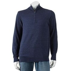 SONOMA life + style Solid Fine Gauge 1/4-Zip Mockneck Sweater - Big & Tall