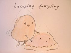(Food Porn)  humping dumpling watercolor cartoon