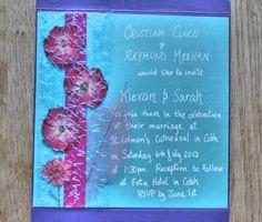 Fuchsia & Aqua Pressed Flowers Pocketfold by PetalsnLace on Etsy Rsvp, Aqua, Reception, Marriage, Invitations, Unique Jewelry, Frame, Handmade Gifts, Flowers