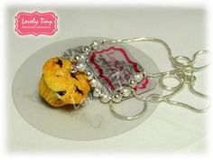 Kawaii Fashion Accessories Blueberry Muffin Cupcake Pendant with Silver Necklace