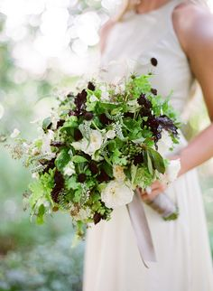 A Classic Love Story via oncewed.com #wedding #bouquet #spring #romantic #green #white #deeppurple