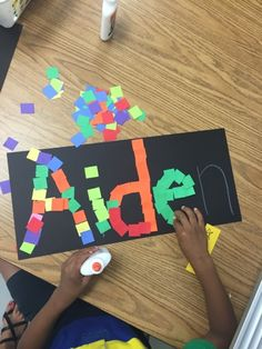 Kindergarten Name Mosaic along with the book Too Much Glue!