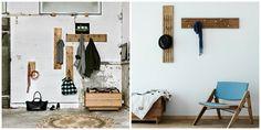recibidores, dos ideas de recibidores en estilo minimalista con muebles desgastados, ganchos de pared de madera con huecos