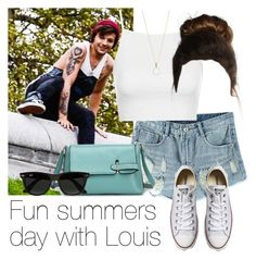 """""""Fun summers day with Louis"""" by style-with-one-direction ❤ liked on Polyvore featuring Topshop, Converse, Ray-Ban, Accessorize, OneDirection, 1d, louistomlinson, lucluc and louis tomlinson one direction 1d lucluc"""