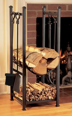 Easy and Creative DIY Firewood Rack and Storage Ideas tag: outdoor firewood rack ideas, firewood storage rack ideas, indoor firewood rack ideas, firewood rack cover diy, ideas for firewood rack. Indoor Firewood Rack, Firewood Holder, Firewood Storage, Fireplace Tools, Home Fireplace, Fireplaces, Home Tools, Sweet Home, Tool Set