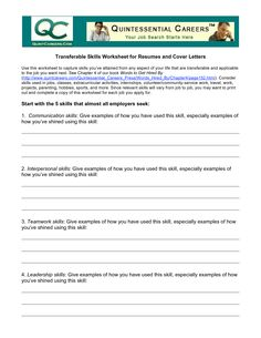 Quintessential Careers Cover Letters | Transferable Skills Worksheet For  Resumes And Cover Letters Use  Transferable Skills Resume