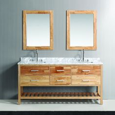 Clean lines and modern design make up the London double-sink vanity set. This sleek vanity is finished in natural oak with matching framed mirror included. Tie your bathroom together with this complete set, coupled with a Carrara marble counter top.