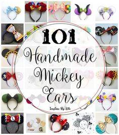 101 Handmade Mickey Ears and links to purchase them (Disney Diy Shirts) Disney Diy, Deco Disney, Diy Disney Ears, Disney Mickey Ears, Diy Mickey Mouse Ears, Disney Bows, Disney 2017, Disney Ideas, Disney Cruise