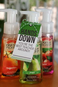 Hand Sanitizer. This is a simple and considerate present. You just need to buy some hand sanitizer and add the cool tags which make the gift more beautiful and personal. http://hative.com/creative-teacher-appreciation-gift-ideas/