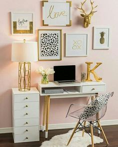 silver and gold bedroom. purple and gold bedroom ideas. black and gold room gold room decor black red and gold bedroom ideas gold themed bedroom. White Desk Office, Small Office, Office Spaces, Work Spaces, Office Workspace, Small White Desk, Office Den, Office Nook, Office Cubicle