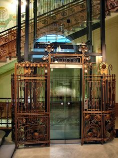 Hotel Central, Prague--ok, it's an elevator, but it's very cool (and I don't have an elevator board)