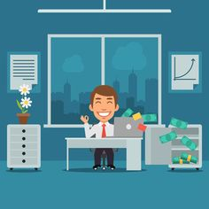 Businessman Sitting in Office and Rejoices Monetary Gain by yuriytsirkunov Vector illustration ?Businessman Sitting in Office and Rejoices Monetary Gain? created in graphic editor Adobe Illustrator CC, and Vector Design, Flyer Design, Vector Art, Graphic Design, Word Template Design, Banner Template, Corporate Flyer, Caricature, Business Women