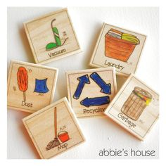 Cleaning Up   chore chart magnet set by AbbiesHouse on Etsy, $4.00