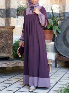 Lace Contrast Abaya - Eid Al-Adha Collection - Women Hijab Style Dress, Abaya Style, Hijab Outfit, Muslim Women Fashion, Abaya Designs, Muslim Dress, Islamic Clothing, Dress With Cardigan, Beautiful Hijab