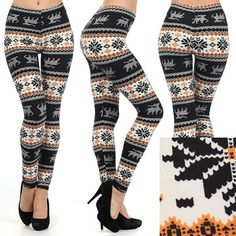 3e01872b2 Snowflake print leggings holiday Christmas Aztec fair isle on Etsy