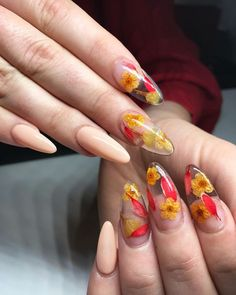 The Dried Flower Nail Art Designs can be created on fingernails of any appearance and width, and can be adapted to any blush combination and any textural flower pattern. Dried Flower Nail Art Designs is the best acceptable, because flowers are the s Nail Art Designs, Acrylic Nail Designs, Clear Nail Designs, Orange Nail Designs, Cute Nails, Pretty Nails, Nail Design Glitter, Nails Design, Glitter Nails