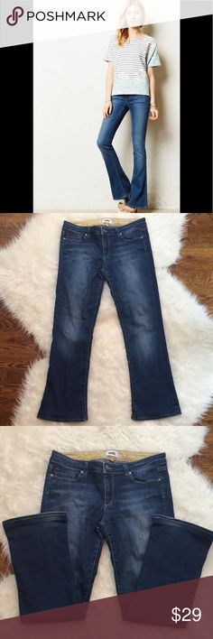"""Paige 'Lou Lou' Flare Jeans Paige 'Lou Lou' flare jeans in excellent condition. These mid-rise flare jeans hug like a skinny down the leg before kicking out mid-calf into a perfect flare. Made from luxuriously soft Transcend fabric. Brand patch in back. Zip fly with button closure. Rise is about 8,"""" inseam is approximately 27,"""" waist is about 33."""" 74% cotton, 24% nylon, 2% Elastane. Size 30. PAIGE Jeans Flare & Wide Leg"""