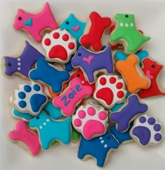 Dog theme sugar cookies mini or large ,birthday  party ,bone,paw,puppy cookies decorated with royal icing ,