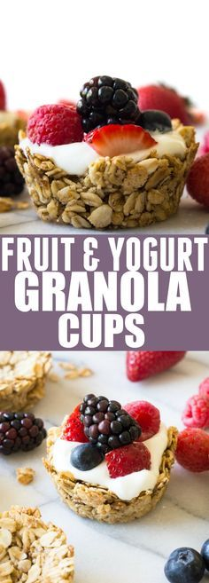 Fruit and Yogurt Granola Cups (and Recipe Video!) These Fruit and Yogurt Granola Cups are super easy to make for breakfast! Fill with your favorite yogurt and fresh fruits for a complete healthy meal!