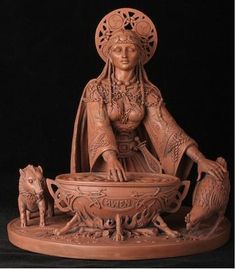 Her cauldron is the primary female symbol of the pre-Christian world, and represents the womb of the Great Goddess from which all things are born and reborn again.