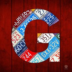 Letter G Alphabet Vintage License Plate Art Print By Design Turnpike