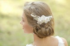 Lace flower, feather and pearl bridal headpiece by LeFlowers Bridal | Love My Dress® UK Wedding Blog
