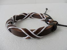 Bracelet Cuff Leather Cotton Paraffined Ropes Woven by sevenvsxiao, $3.00