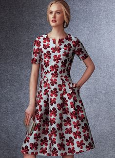 V1737 | Misses' Fit-And-Flare Dresses with Waistband and Pockets | Vogue Patterns Vogue Patterns, Dress Patterns, Sewing Patterns, Fit N Flare Dress, Fit And Flare, Kwik Sew, Miss Dress, Extra Fabric, Bias Tape