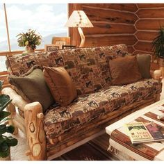 MountainWoodsFurniture Aspen Heirloom Sofa Fabric Color: Peter's Cabin, Finish: Beeswax / Linseed Oil