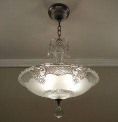 Art Deco Chandelier, Antique Chandelier, Art Deco Lighting, Antique Lamps, Antique Lighting, Glass Chandelier, Vintage Lamps, Home Lighting, Chandelier Lighting
