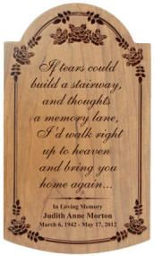 This exquisite 12 in. x 7 in. cherry plaque features a carved rose border and a wall mount on back. This cherry plaque can be personalized with a poem, sentiment, award or whatever you would like. We professionally laser etch this plaque making the perfect wall plaque for many gift giving occasions. Made in the USA.    $35