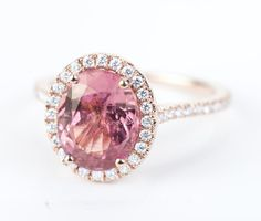 Certified HUGE Raspberry Pink Champagne Oval Sapphire & Diamond Halo Engagement Ring 14K Rose Gold
