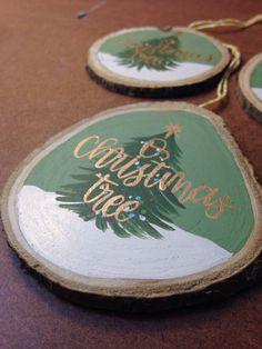 Items similar to Hand Painted Wood Slice Ornament on Etsy Painted Ornaments, Wooden Ornaments, Diy Christmas Ornaments, Holiday Crafts, Christmas Wood, Homemade Christmas, Christmas Holidays, Beach Christmas, Christmas Decor