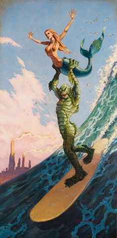Maid In Heaven by artist Damian Fulton.The creature from the Black Lagoon with a mermaid surfing catching a wave.Giclee fine art reproductions on canvas.A Canvas Giclee is a gallery wrapped canvas pri Frankenstein, Mermaid Canvas, Mermaid Art, Scary Mermaid, Mermaid Paintings, Black Mermaid, Art Paintings, Illustration Photo, Illustrations