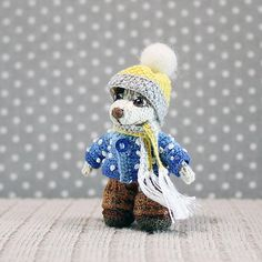 Little Dog in winter clothes knitted dog dollhouse