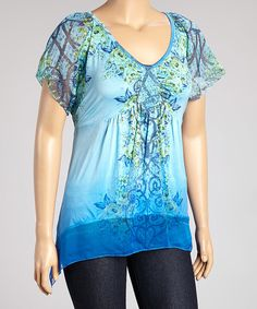 Take+a+look+at+the+Blue+Abstract+Sidetail+Top+-+Plus+on+#zulily+today!