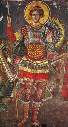 Saint Demetrios and Emperor Leo VI the Wise Religious Images, Religious Icons, Religious Art, Byzantine Icons, Byzantine Art, Greek Icons, Greek Paintings, Religious Paintings, Archangel Michael