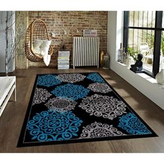 Persian Rugs Modern Trendz Collection 776 Turquoise Rug (2' x 3') Rug (Turquoise 2'0 x 3'0), Size 2' x 3' (Polypropylene)