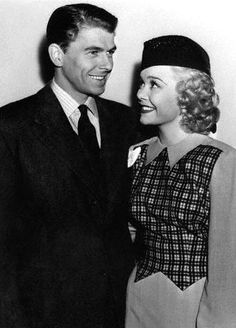 Ronald Reagan and Jane Wyman.  Cute outfit, cute hair.  She was adorable.