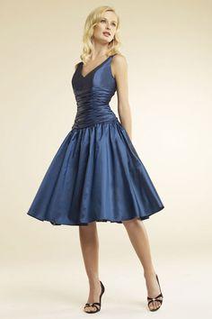 V-neck A-line tea-length taffeta bridesmaid dress